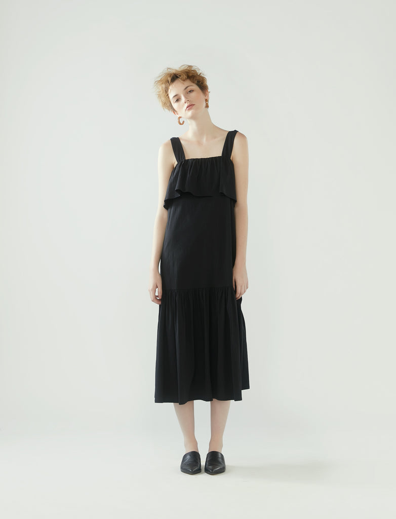 square neck dress with frilled hem - black