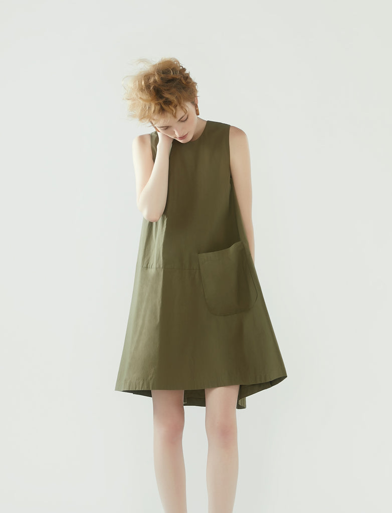 side buttons flared dress - khaki green