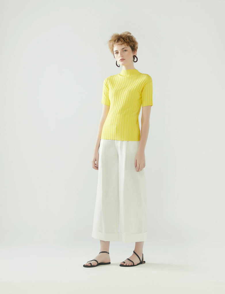 rib knit short-sleeve top- lemon