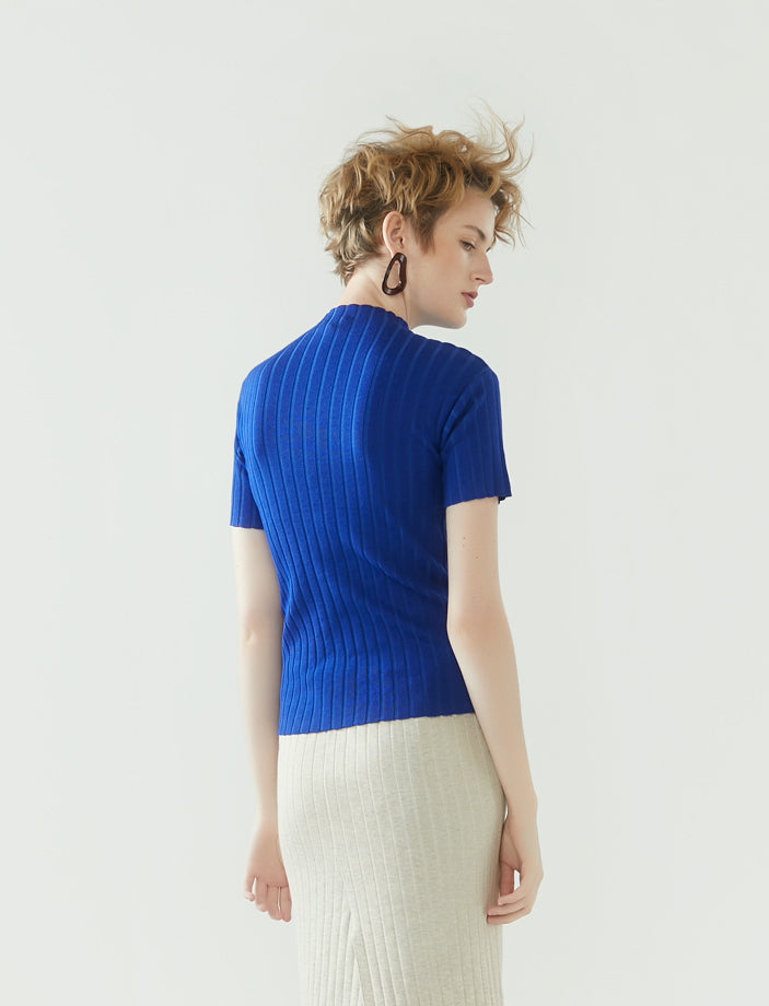 rib knit short-sleeve top- cobalt blue