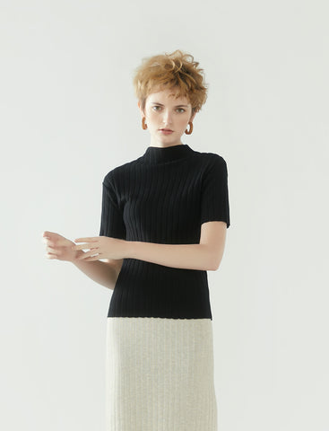 rib knit short-sleeve top- black