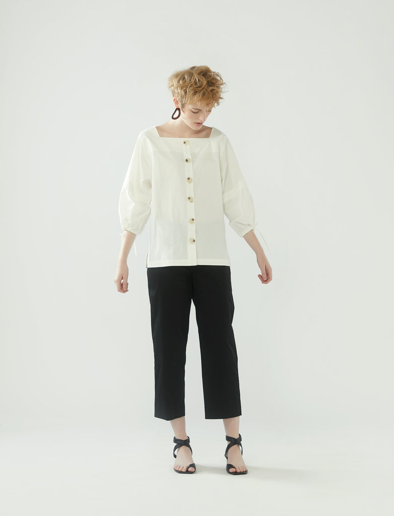 square neck drawstring sleeve top - ivory