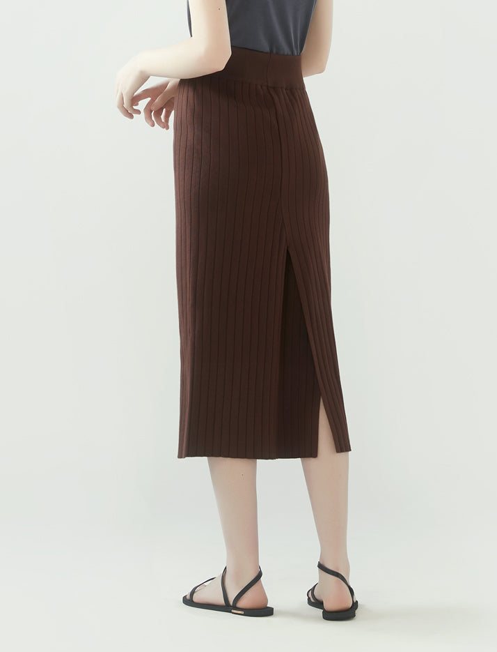 rib knit pencil skirt- dark mocha