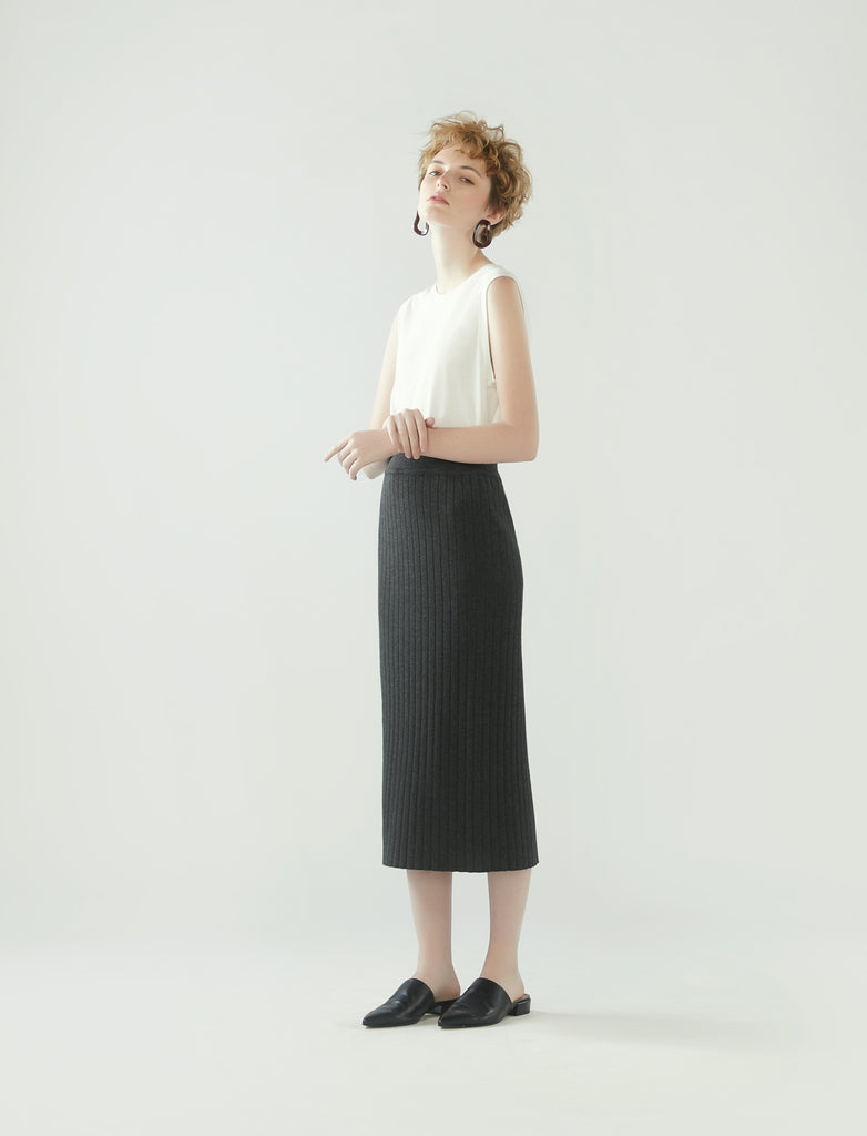 rib knit pencil skirt- charcoal grey