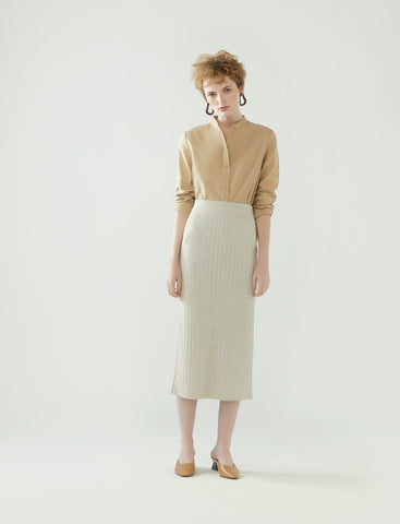 rib knit pencil skirt- heather oatmeal