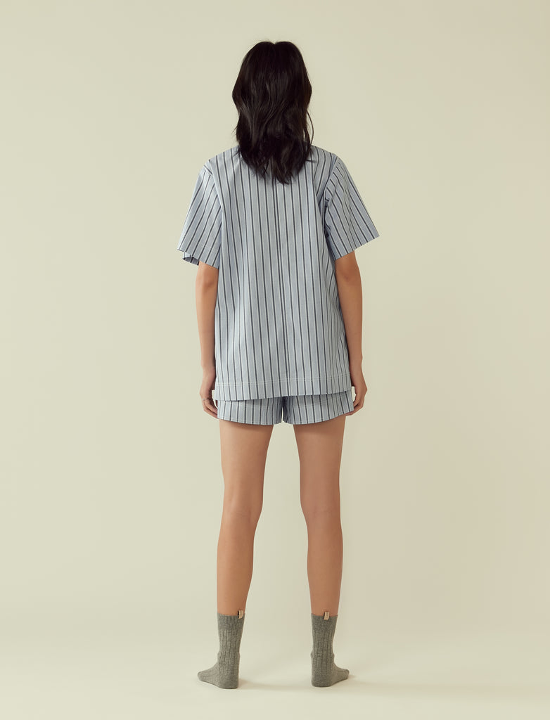 Shirt with double pockets- blue stripe