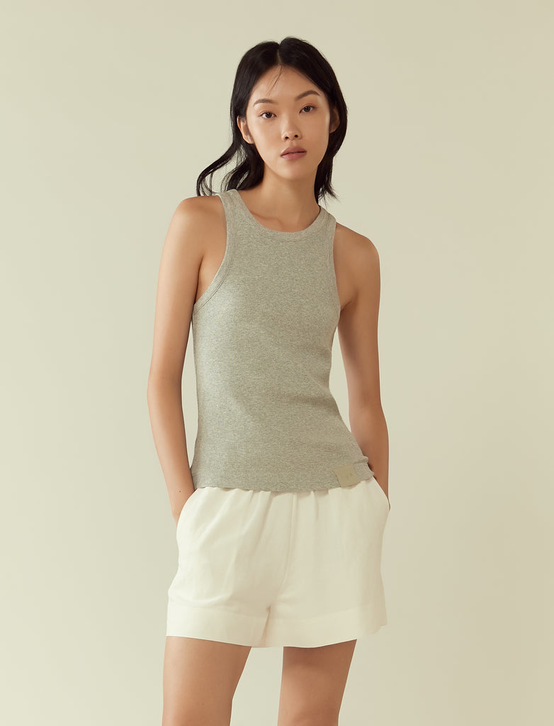 Ribbed jersey tank- heather grey