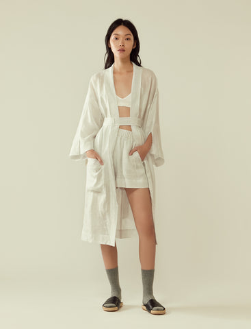 Belted lounge robe- pinstripe