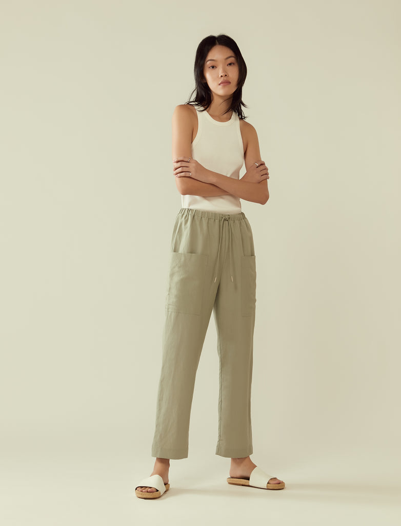 Drawstring trousers with large pocket- sage