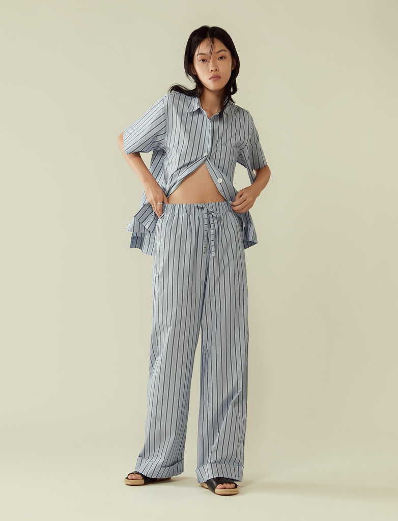 Turn-up cuff wide leg trousers- blue stripe