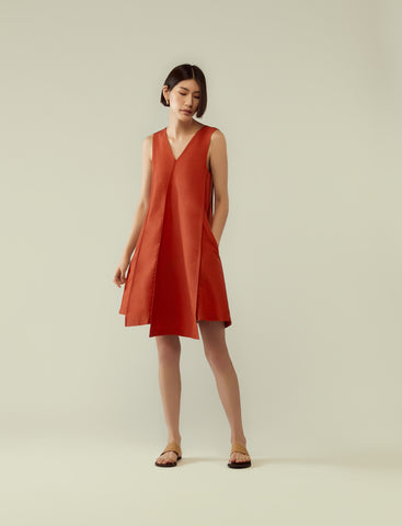 v-neck panelled dress- burnt orange