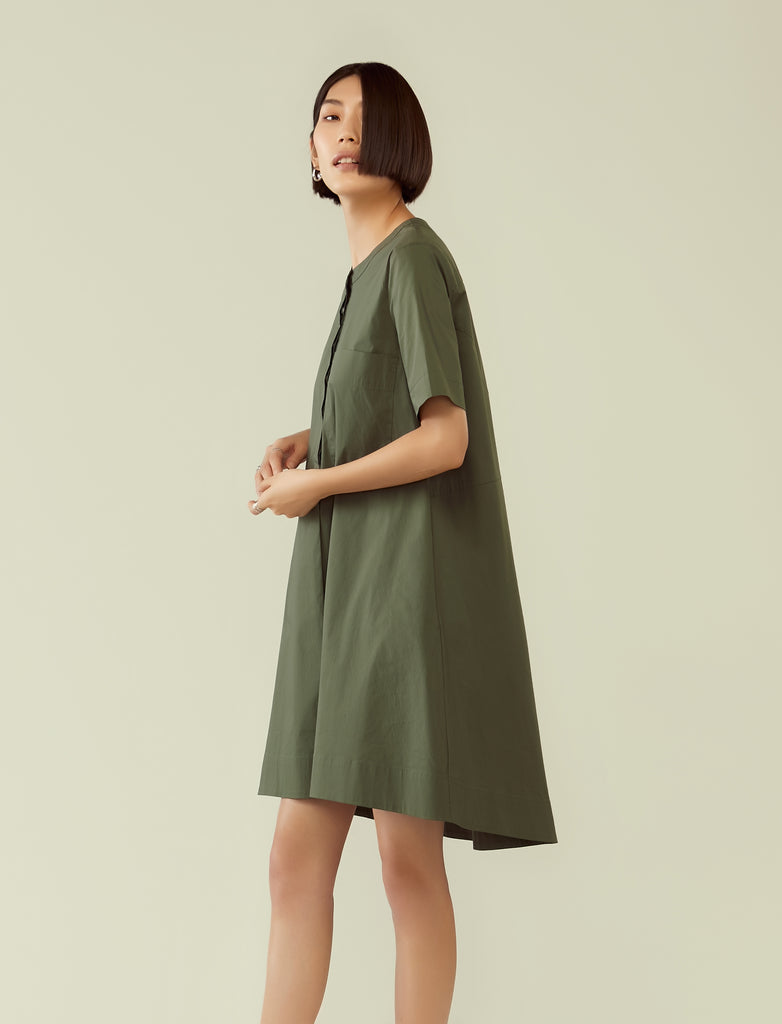 trapeze short sleeve shirt dress- seaweed