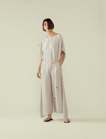 asymmetrical kaftan cupro jumpsuit- cool grey