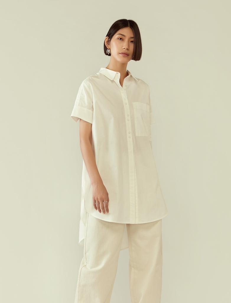 flared circular tunic shirt - white