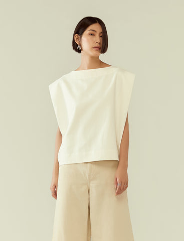 structured shoulder boxy top- white