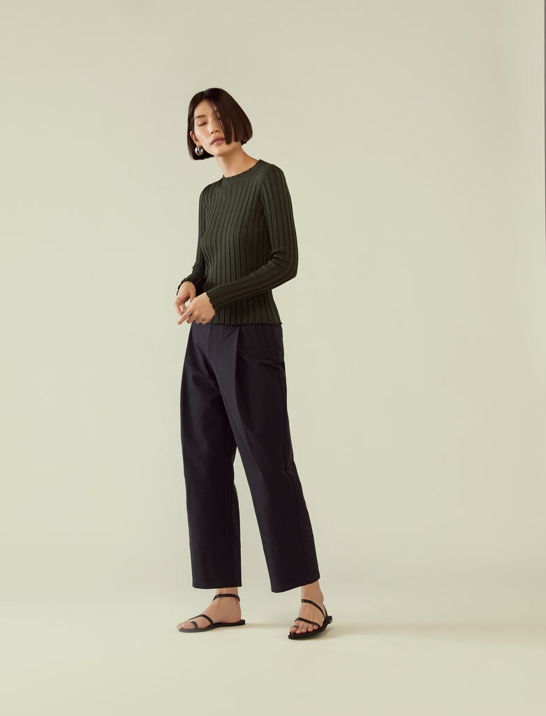 round neck rib knit long sleeve top- seaweed