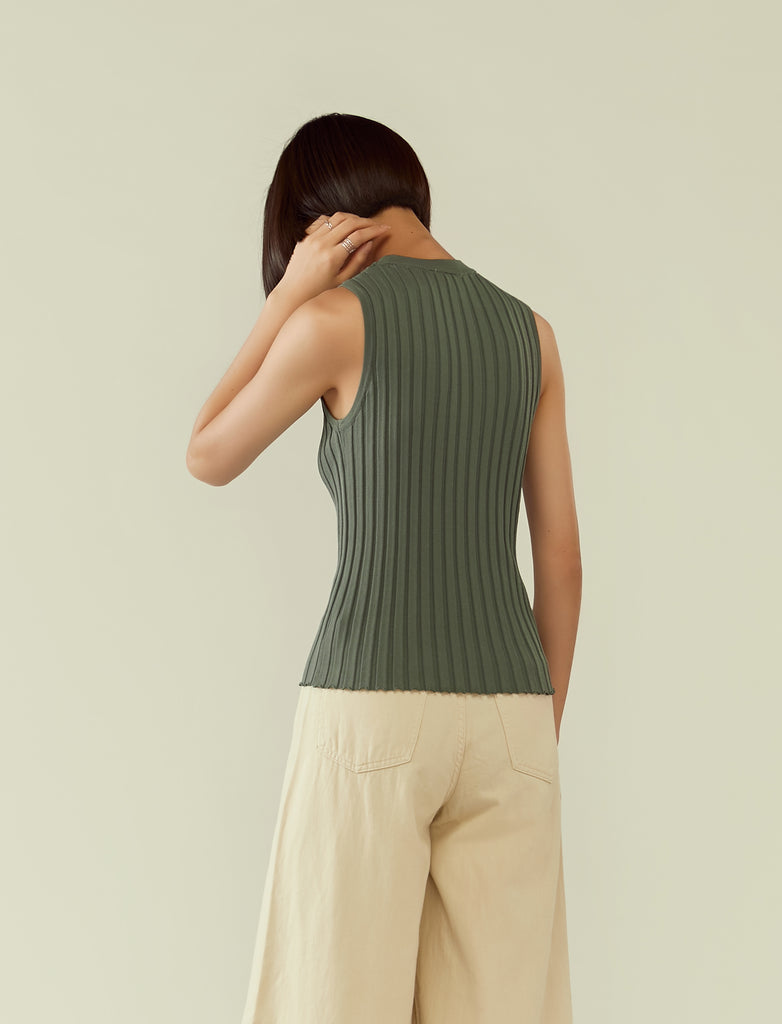 round neck rib knit sleeveless top- green mist