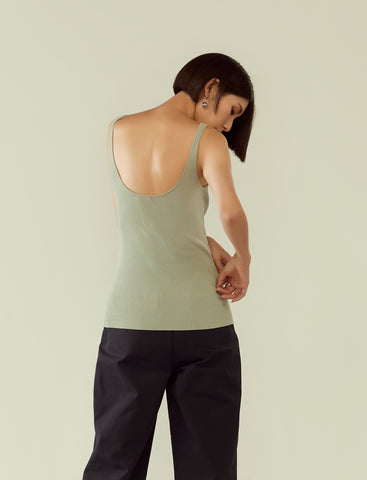 Rib knit U-neck singlet - aqua grey