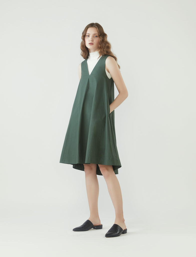 V-neck tent dress - pine green