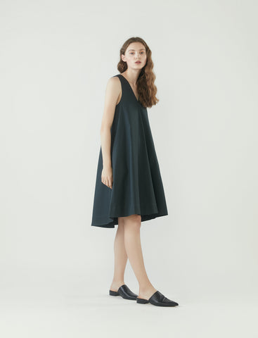 V-neck tent dress - charcoal grey