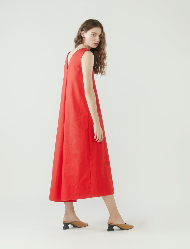 long tent dress with v-neckline - cherry tomato