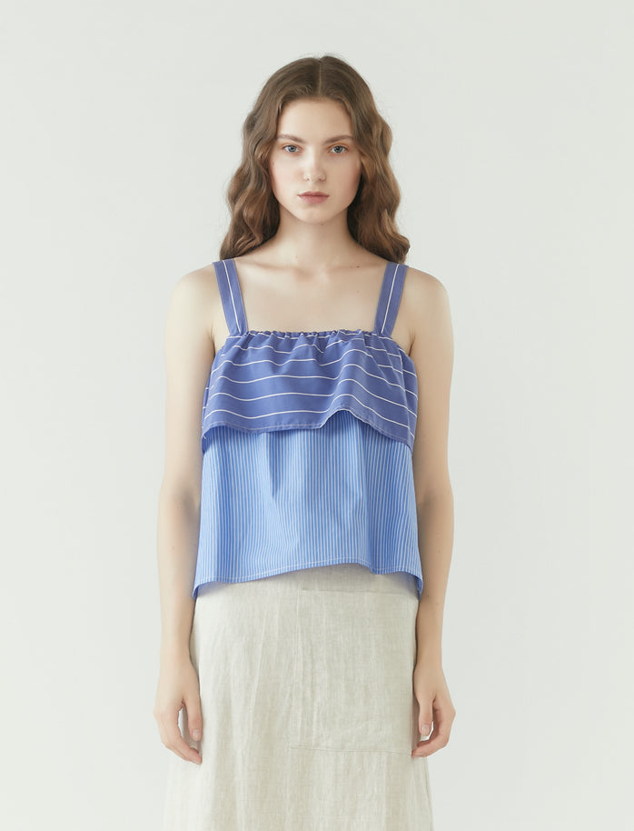 cropped layered square neck top - blue stripes