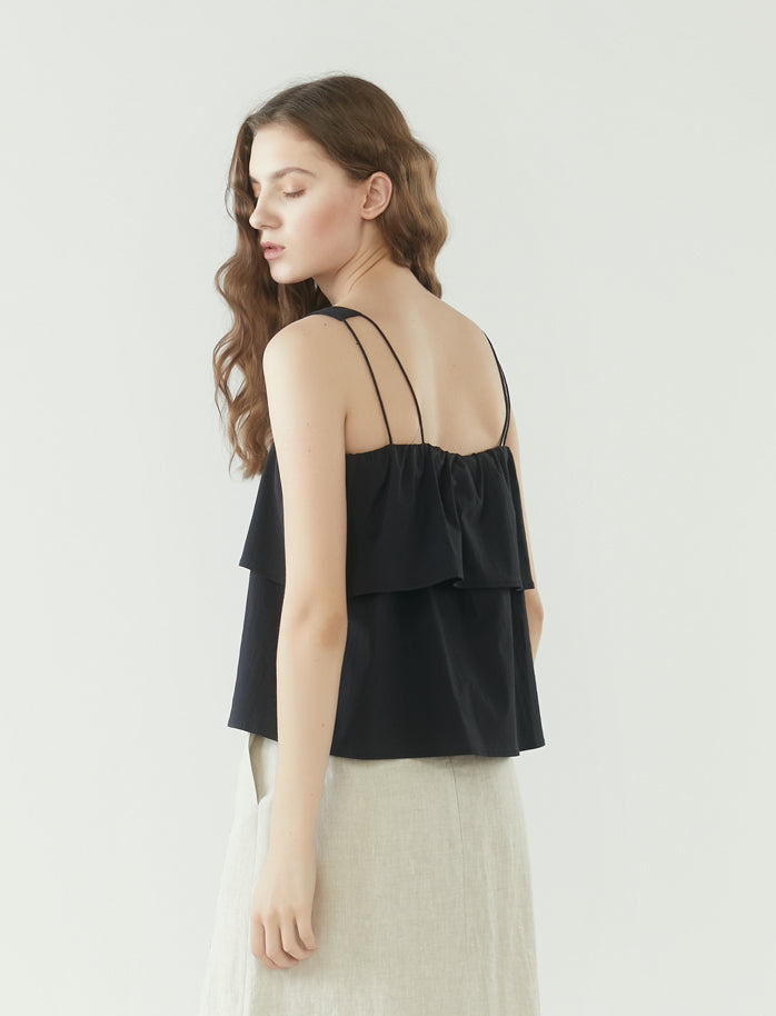 cropped layered square neck top - black