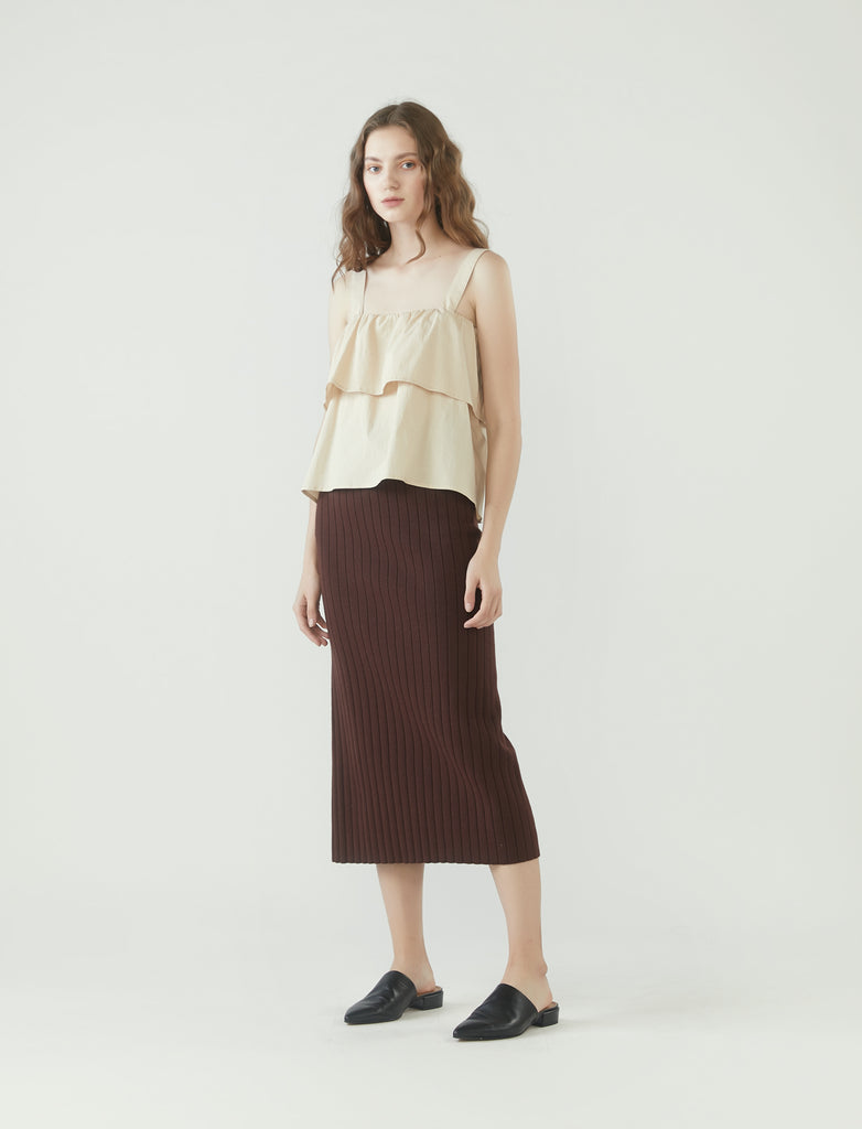 cropped layered square neck top - oatmeal