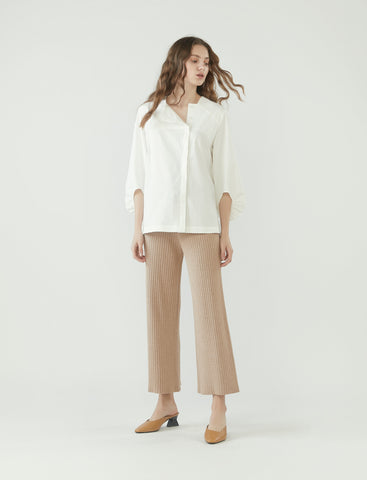 square neck cocoon sleeve shirt - white