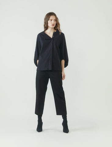 square neck cocoon sleeve shirt - black