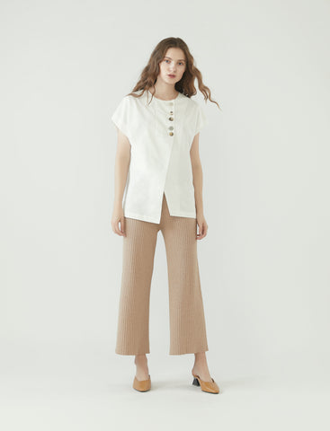 mismatched buttons top - white