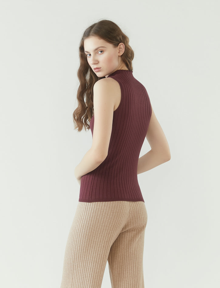 funnel neck ribbed knit top- barolo
