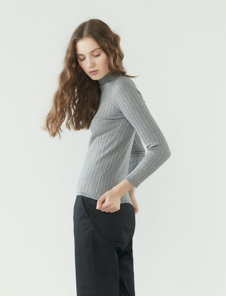 ribbed knit long sleeve top - heather grey
