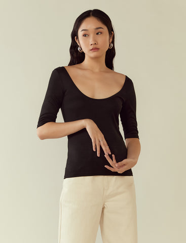 deep scoop-back ribbed top- black