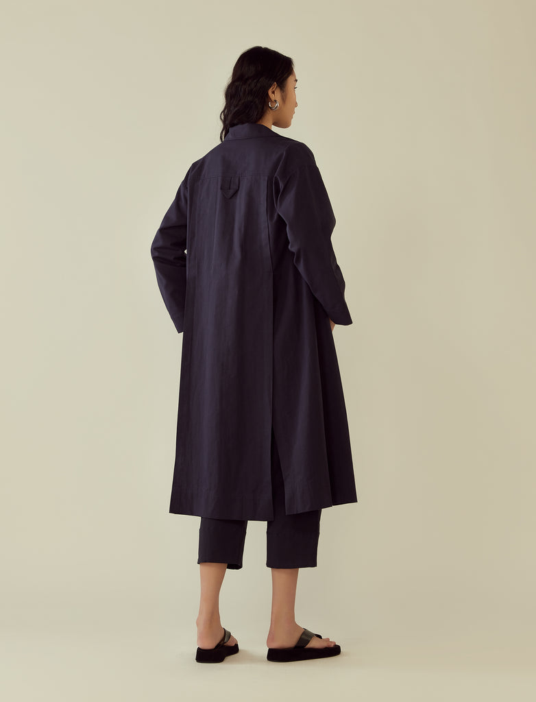 oversized mac jacket- navy blue