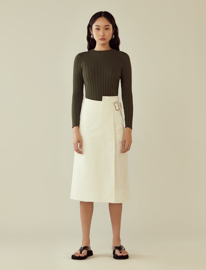 asymmetrical wrap buckled pants- off-white