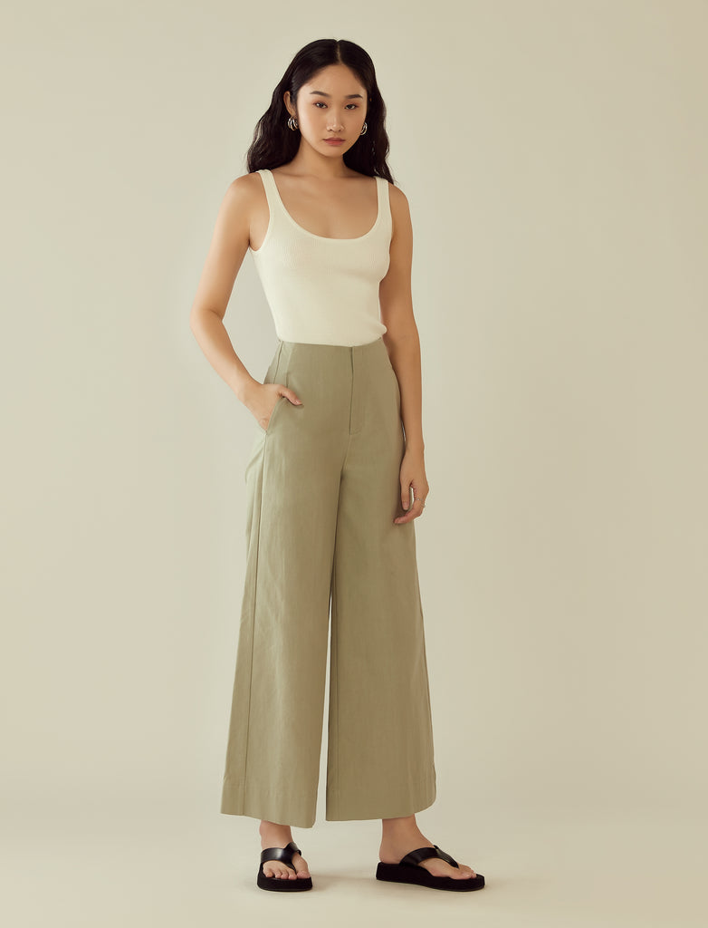 wide leg high-waisted trousers- mint
