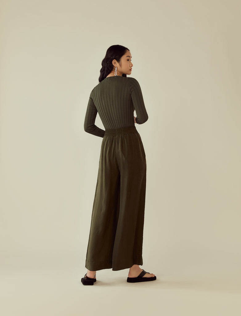 cupro drawstring flared pants- seaweed