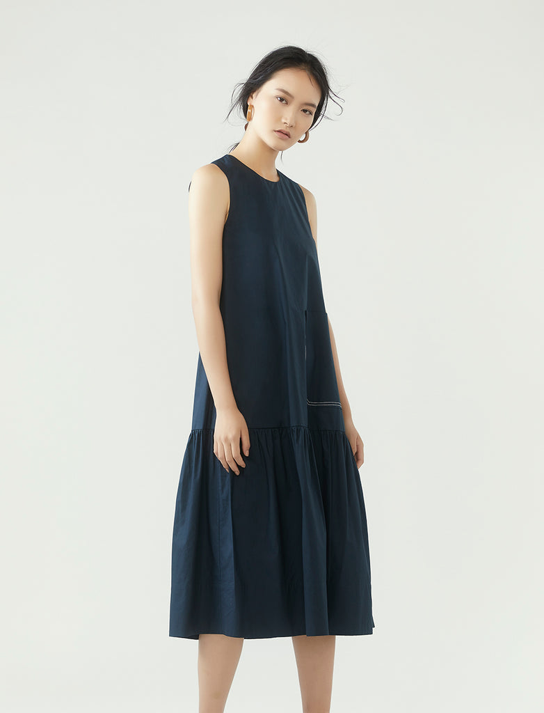 contrast stitch pocket dress- midnight