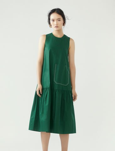contrast stitch pocket dress- basil