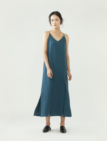slip dress with split hem- smokey blue