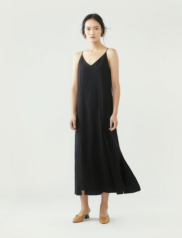 slip dress with split hem- black