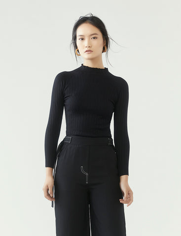 ribbed knit long sleeve top - black