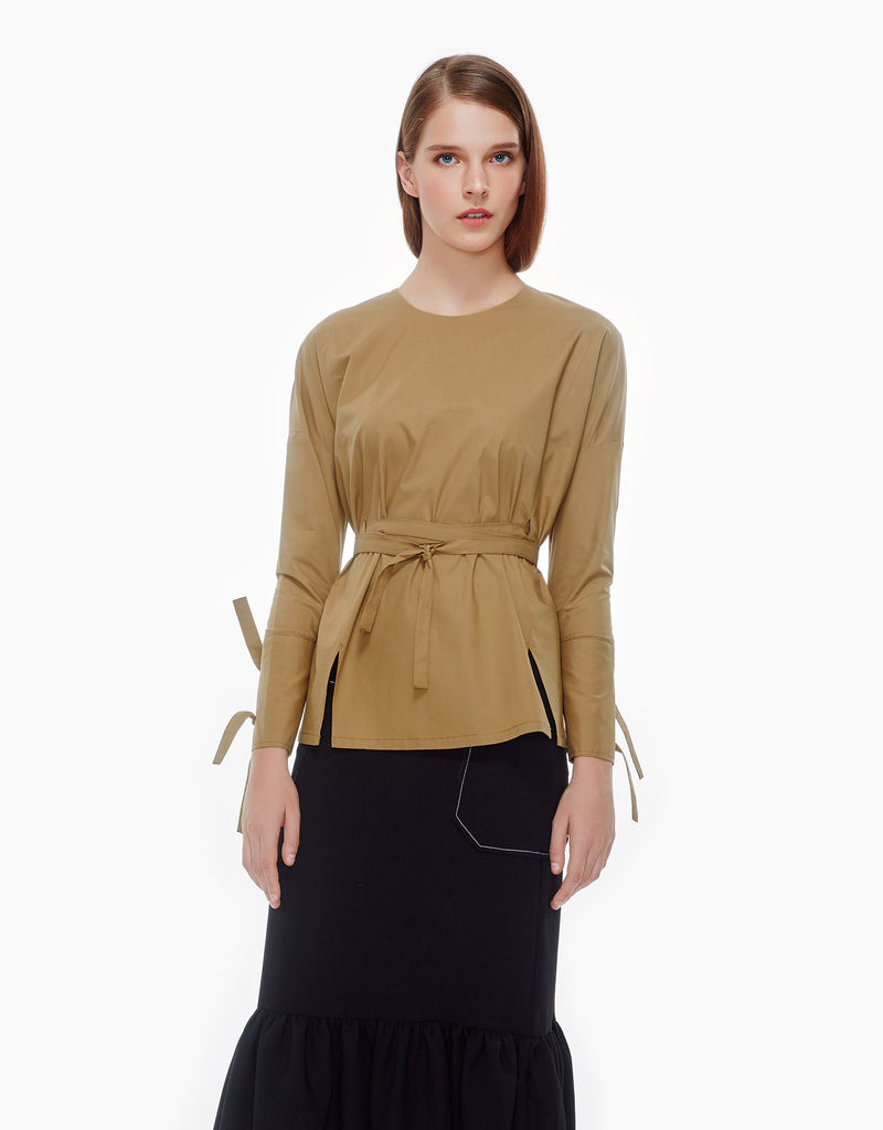 tie belts cotton top- camel