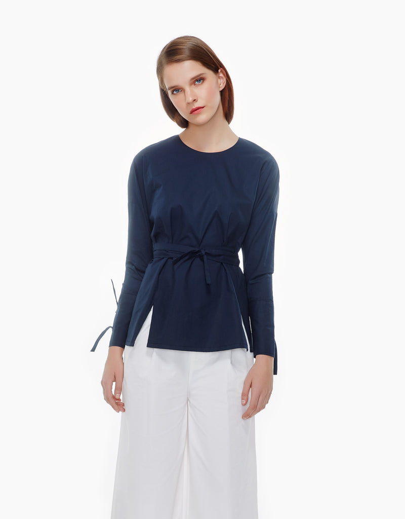 tie belts cotton top- midnight blue