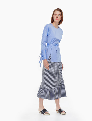 tie belts cotton top- blue herringbone