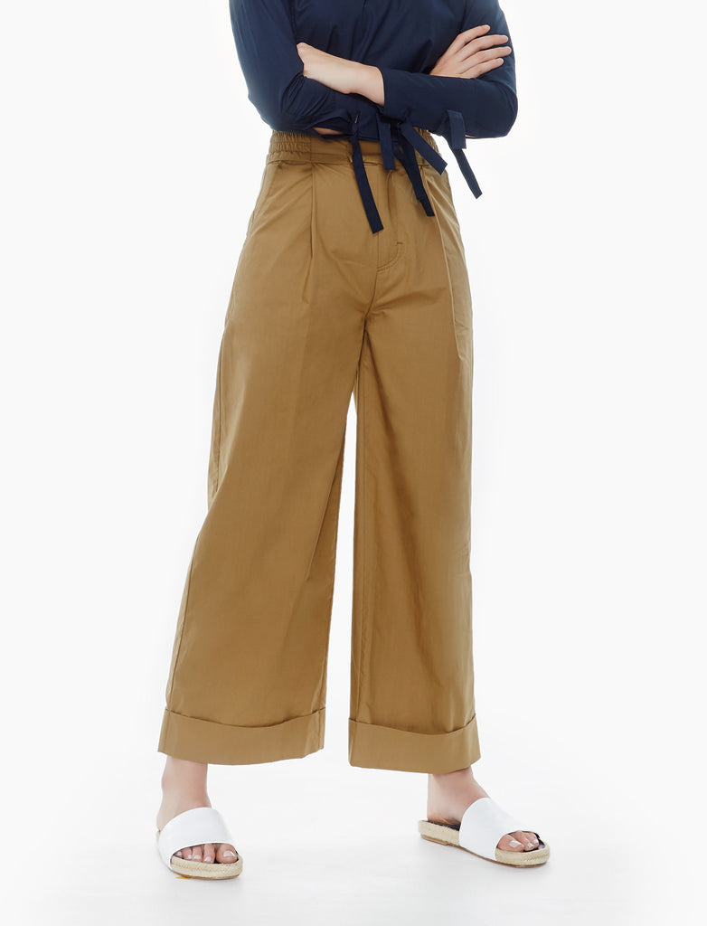 turn-up cuff trousers- camel