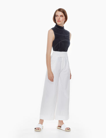 turn-up cuff trousers- ivory