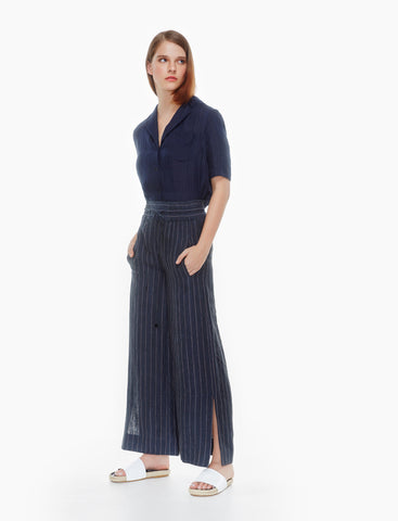 linen side slits pants