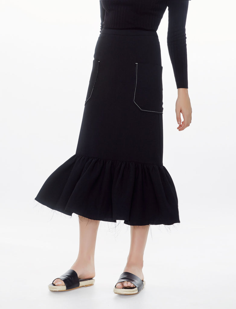 contrast stitch gathered skirt